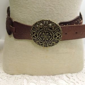Fossil Brown Leather Belt Metal Medallions